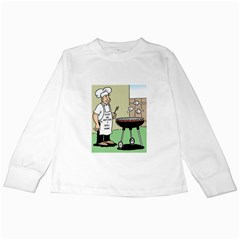 Stop Me Before I Grill Again White Long Sleeve Kids'' T-shirt