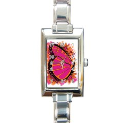 Pink Butter T Copy Classic Elegant Ladies Watch (Rectangle)