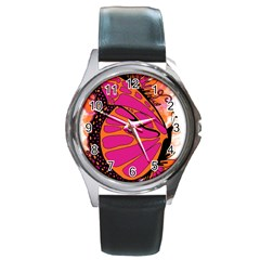 Pink Butter T Copy Black Leather Watch (Round)