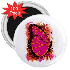 Pink Butter T Copy 100 Pack Large Magnet (round)