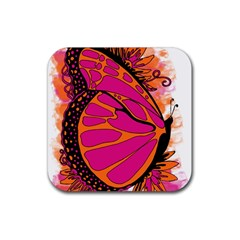 Pink Butter T Copy Rubber Drinks Coaster (square)