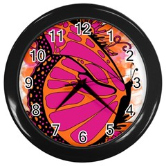Pink Butter T Copy Black Wall Clock
