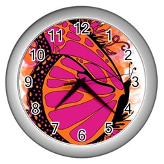Pink Butter T Copy Silver Wall Clock