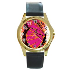 Pink Butter T Copy Black Leather Gold Rim Watch (Round)