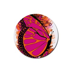 Pink Butter T Copy 4 Pack Rubber Drinks Coaster (round)