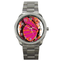 Pink Butter T Copy Stainless Steel Sports Watch (Round)