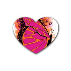 Pink Butter T Copy 4 Pack Rubber Drinks Coaster (Heart)