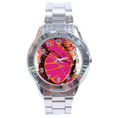 Pink Butter T Copy Stainless Steel Analogue Watch (Round)