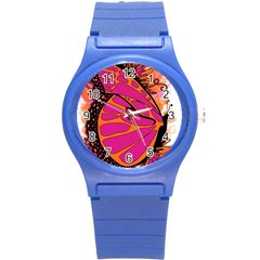 Pink Butter T Copy Round Plastic Sport Watch Small