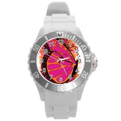 Pink Butter T Copy Round Plastic Sport Watch Large