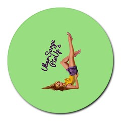 Pin Up Girl 4 8  Mouse Pad (round)