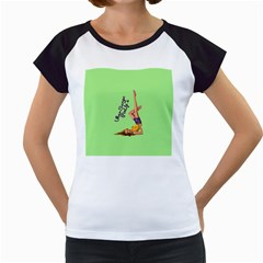 Pin Up Girl 4 White Cap Sleeve Raglan Womens  T-shirt