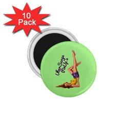 Pin Up Girl 4 10 Pack Small Magnet (Round)