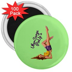 Pin Up Girl 4 100 Pack Large Magnet (Round)