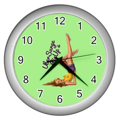 Pin Up Girl 4 Silver Wall Clock
