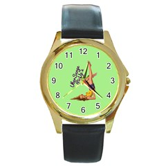 Pin Up Girl 4 Black Leather Gold Rim Watch (Round)