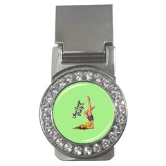 Pin Up Girl 4 Money Clip with Gemstones (Round)