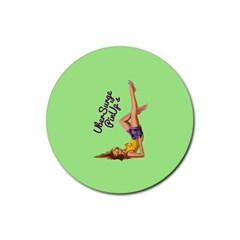 Pin Up Girl 4 Rubber Drinks Coaster (Round)
