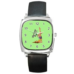 Pin Up Girl 4 Black Leather Watch (Square)