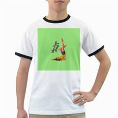 Pin Up Girl 4 White Ringer Mens'' T-shirt