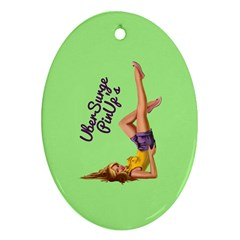 Pin Up Girl 4 Oval Ornament (two Sides)