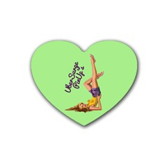 Pin Up Girl 4 4 Pack Rubber Drinks Coaster (Heart)