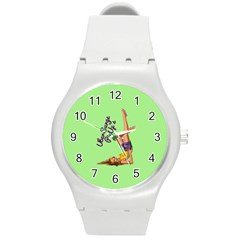 Pin Up Girl 4 Round Plastic Sport Watch Medium