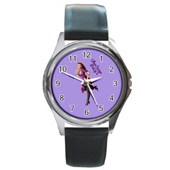 Pin Up 3 Black Leather Watch (round)