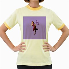 Pin Up 3 Colored Ringer Womens  T-shirt