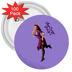 Pin Up 3 100 Pack Large Button (Round)
