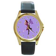 Pin Up 3 Black Leather Gold Rim Watch (round)
