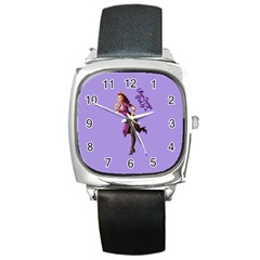 Pin Up 3 Black Leather Watch (Square)