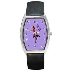 Pin Up 3 Black Leather Watch (Tonneau)