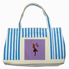 Pin Up 3 Blue Striped Tote Bag