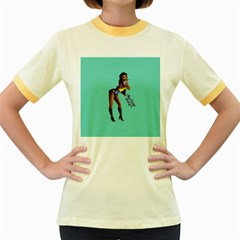 Pin Up 2 Colored Ringer Womens  T-shirt
