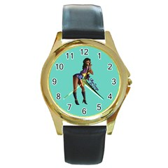 Pin Up 2 Black Leather Gold Rim Watch (Round)