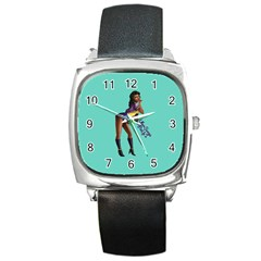 Pin Up 2 Black Leather Watch (square)