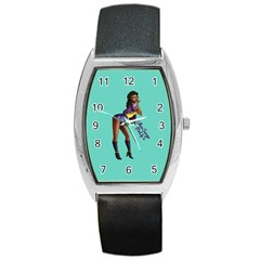 Pin Up 2 Black Leather Watch (tonneau)