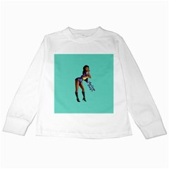 Pin Up 2 White Long Sleeve Kids'' T Shirt