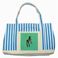 Pin Up 2 Blue Striped Tote Bag