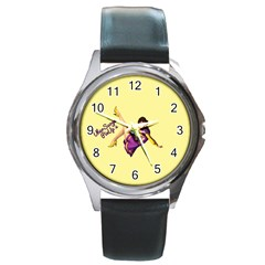 Pin Up Girl 1 Round Metal Watch