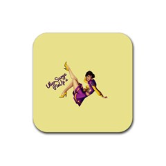 Pin Up Girl 1 Rubber Square Coaster (4 pack)