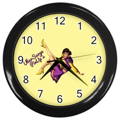 Pin Up Girl 1 Wall Clock (Black)