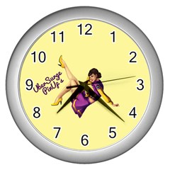 Pin Up Girl 1 Wall Clock (silver)