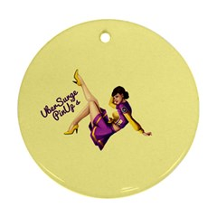 Pin Up Girl 1 Round Ornament (two Sides)