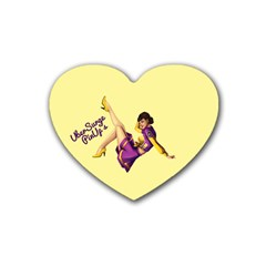Pin Up Girl 1 Heart Coaster (4 pack)