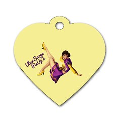 Pin Up Girl 1 Dog Tag Heart (Two Sides)