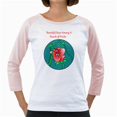 A Rose Among Pricks White Long Sleeve Raglan Womens  T-shirt