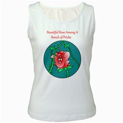 A Rose Among Pricks White Womens  Tank Top