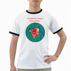 A Rose Among Pricks White Ringer Mens'' T-shirt